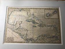 Very Rare Les Isles Antilles et le Golfe du Mexique Map Very Old Cool  (TKHome)