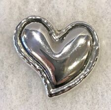 5/8 Inches Wide - 16.2 Grams Mexican Sterling Abstract Heart Pin 1