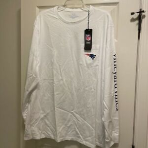 New England Patriots Mens Vineyard Vines Long Sleeve T-Shirt White Cotton XL