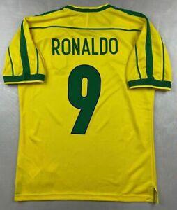 MAGLIA CALCIO RETRO BRASILE HOME 1998 WORLD CUP 9 RONALDO FENOMENO RIVALDO CAFU