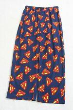 Superman DC Comics Blue Mens Man Fleece Polyester Pajama Pants Extra Large XL H4