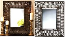 "BROWN FAUX RATTAN WEAVING RECTANGULAR WALL MIRROR  *25"" x 30"" * NIB"