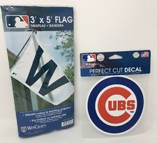 "Chicago Cubs ""W"" Flag 3'x5' with Bonus Perfect Cut Cubs Window Decal"
