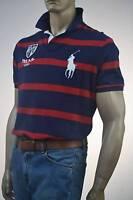 Ralph Lauren Custom Fit Navy Blue & Red Stripe Mesh Polo Shirt/ Big Pony-S-NWT
