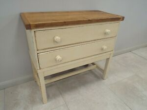 Vintage Painted Shabby Chic Two Drawer Chest Side Cabinet