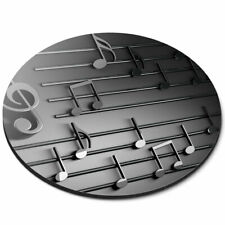 Round Mouse Mat - 3D Musical Notes Music Teacher Student Office Gift #14851