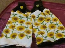 New listing Plush Hand Crocheted Top Hanging Kitchen Towels Sunflowers