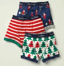 New Mini Boden Boys Underwear 3 Pack Boxer Briefs 3 4 year Santa Trees Stripes
