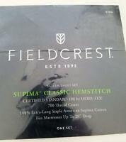 Fieldcrest Supima Classic Hemstitch Sheet Set KING White 700 Thread 4 pc