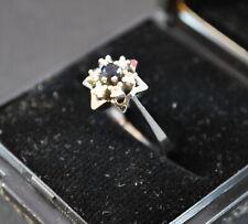 Echtgold Ring Brillanten Weißgold 585 mit 1 Saphir und  6 Brillanten sehr gut