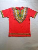 Men's African Print Dashiki T-Shirt | Ultra Soft, Short Sleeve Cotton (Red)