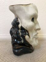 🔥 Antique Mid Century Modern Brutalist Grotesque Face Pottery Vase Sculpture