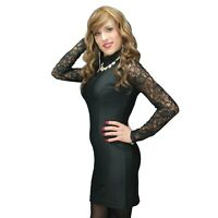 Black Mini Dress with Lace Long Sleeves Crossdressers Transgenders XS - 4XL