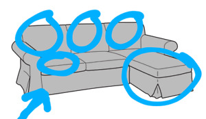 Ikea UPPLAND 3 Seat Loveseat Sofa w/Chaise COVER Totebo Turquoise NEW $20 Any Pc