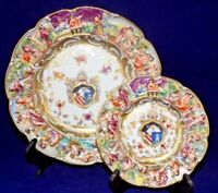 VTG Capodimonte Armorial Plate & Bread and Butter Plate- Made in Germany