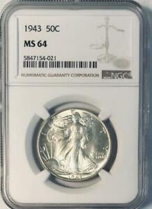 1943 Liberty Walking Liberty Half Dollar - NGC MS-64 - Mint State 64