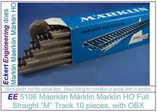 EE 5106 GD Marklin HO 5106 M Full Straight Track Box of 10 with OBX Good