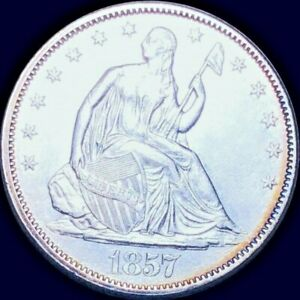 1857 SEATED LIBERTY HALF.  Uncirculated  -LOW SHIPPING!!