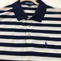 Polo Golf Ralph Lauren Men Short Sleeve Polo Shirt XL Blue White Stripes Cotton