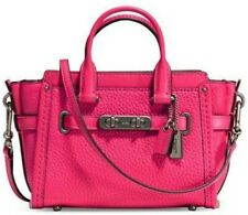 Coach Mini Swagger 15 NWT Pebble Leather 54625 Pink Amarenth Crossbody Satchel