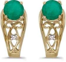 10k Yellow Gold Round Emerald & Diamond Earrings E2587-05