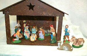 Nativity 13 Piece Set of Figures + Wooden Manger Vintage  Made in Japan  XM1252