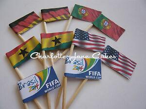 20 CUPCAKE FLAGS/TOPPERS - Germany / Portugal / Ghana / USA