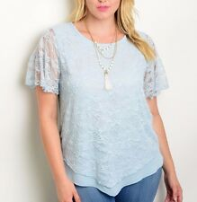 Size 1XL SHIRT TOP Womens Plus BABY BLUE Short Sleeve LACE Lined Front XL NEW