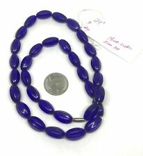 """Vintage African Trade Beads 24"""" Cobalt Blue Faceted Oval Glass Necklace"""