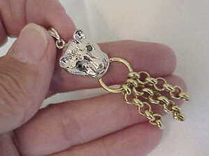 18K SOLID YELLOW & WHITE GOLD DANGLE PANTHER CAT PENDANT SAPPHIRE EYES