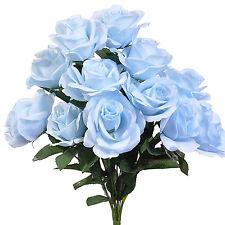 Baby Blue ~ 12 Open Long Stem Roses Silk Wedding Flowers Bridal Bouquets Decor