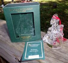 2000 Marquis Waterford Snowman Bell Ornament 1st in Series Crystal IOB Mint MS