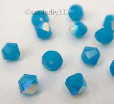144x SWAROVSKI 5328 CARIBBEAN BLUE OPAL AB 4mm BICONE XILION CRYSTAL BEAD
