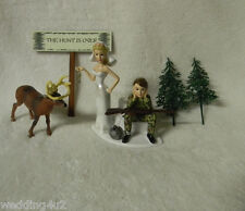 Wedding Reception Party The Hunt is Over Sign Deer Hunter Hunting Cake Topper