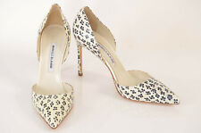 Manolo Blahnik ivory black 10 40 floral snake print leather pump shoe NEW $935