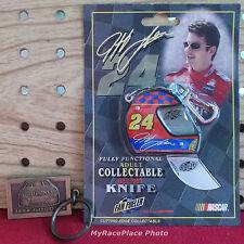 NASCAR #24 Jeff Gordon Dupont __ HELMET KNIFE + BRASS PLATED KEYRING KEY CHAIN