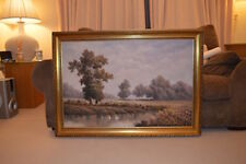 P. Wilson Huge Painting Quite River in Nature Oil on Canvas Signed