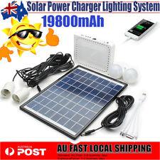 Solar Power Panel Generator LED Light USB Charger Home System Kit Travel Camping