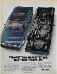 1989 Volvo 740 Blue Sedan Upside Down Protect Original Vintage Poster Print Ad