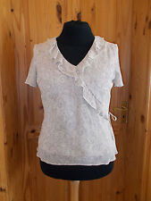 BHS oatmeal beige brown floral frill chiffon v neck short sleeve tunic top 16 44