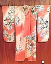 VINTAGE JAPANESE KIMONO FURISODE WOVEN SILK, GEOMETRIC PATTERN SHOWA 1950-70