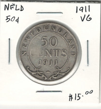 Canada NFLD 1911 Silver 50 Cents VG