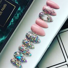 Hand Painted False Nails Pink Jeffree Star Nail Art Stiletto Full Cover Tips