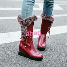 Ladies Wedge Heel Fur Womens Lace Up Mid Calf Boots Snow Fashion Shoes Winter