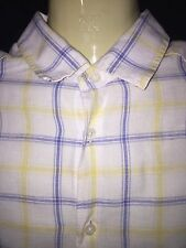 BLUE HARBOUR @ M&S white yellow blue check shirt size M / loose fit