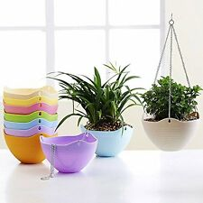 Hanging Flower Plant Planter Basket for Plants Pot Holder with Chain Color White