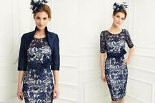 Knee Length Navy Blue Short Lace Mother of the Bride Dress with Jacket Plus Size
