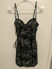 Guess Black and Gray Pencil Corset Dress, Magazine Print, Laced Details Size 3