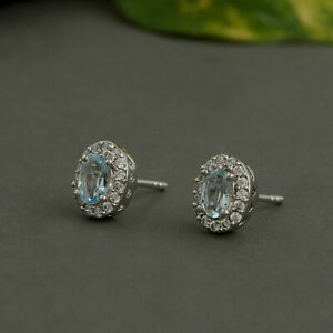 Elegant 925 Sterling silver Aquamarine stone with silver Push Earring Jewelry