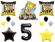 12pc CONSTRUCTION set BALLOONS new 5th FIFTH birthday TRACTOR party FAVORS truck